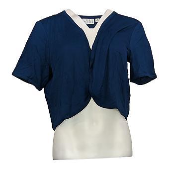 Joan Rivers Classics Collectie Dames Trui Jersey Knit Shrug Blue A304727