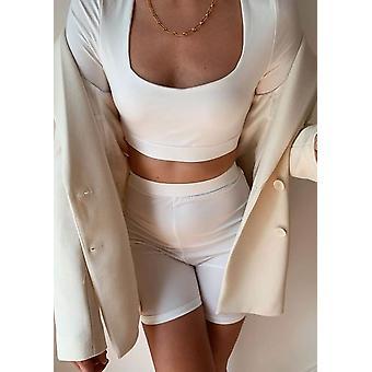 Camiseta de manga larga y pantalones cortos de ciclismo Loungewear Set Blanco