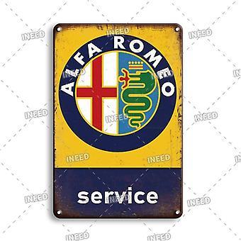 Vintage Alfa Romeo Metal Poster Sign Garage Home Decorative Plate