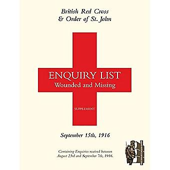 British Red Cross and Order of St John Enquiry List for Wounded and Missing: September 15th 1916