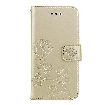 Flower pattern leather case for iPhone 7/8/SE 2020 - Golden
