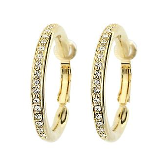 Traveller Clip Earrings - Hoops - 22ct gold plated - 33mm - Crystals - 155835