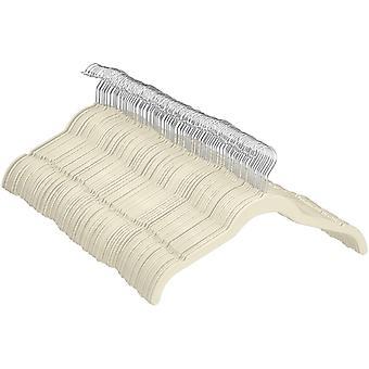 Amazon Basics Kleiderbgel fr Hemd / Kleid, mit Samt berzogen, 100er-Pack, Elfenbein