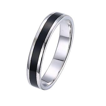 Thick Mid-cut Black Enamel Silver Plating Band Ring