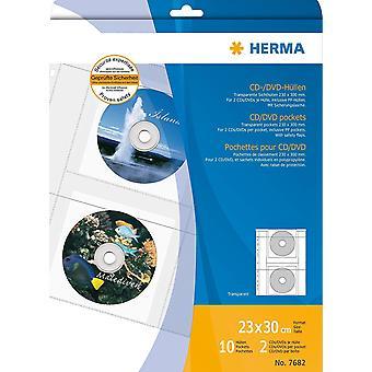 Wokex 7682 DVD CD Hllen transparent, Kunststoff (fr max. 20 CD DVD, 2 Stck je Hlle) 10 Sichthllen