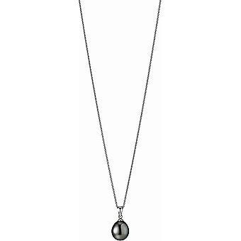 Adriana Collana Perla Tahiti nero 9-10 mm catena di ancoraggio argento 50 cm I5-9