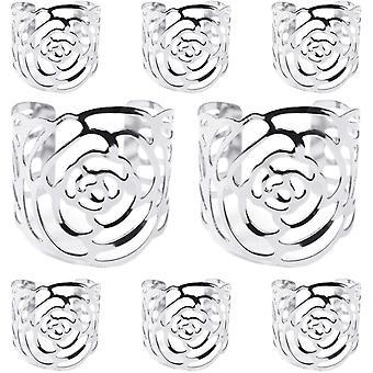 Wokex Serviettenringe Silber, 8 stuck Serviettenhalter Rose Metall Serviettenschnallen fr Hochzeit