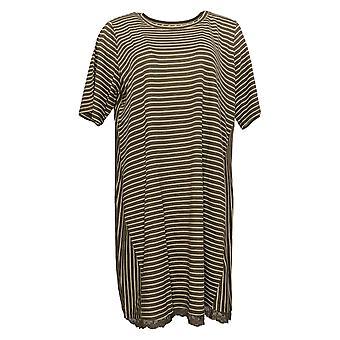 LOGO By Lori Goldstein Dress Stripe Linen Knit W/ Lace Hem Green A301303