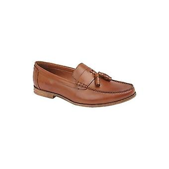 Lambretta Everett Mens Leather Loafer Shoes Tan