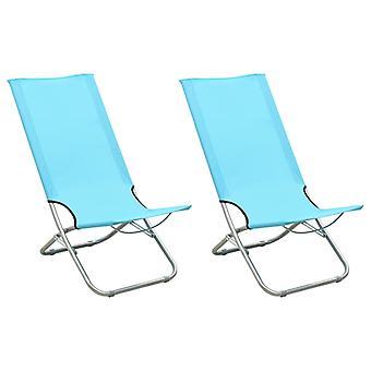 vidaXL Folding beach chairs 2 pcs. turquoise fabric