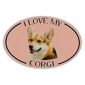 "Magnet, Oval, I Love My Corgi, 6"" X 4"""