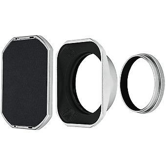 Silber Sonnenblende und Filteradapter für Fujifilm X100V, X100F, X100T, X100S, X100 und X70 Kameras
