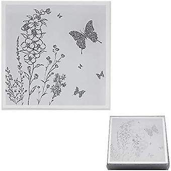 speil hvitt glass sett med 4 sommerfugl coasters av mindre & pavey
