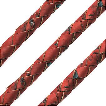 Portuguese Cork Cord by Regaliz, Round and Braided 6mm, Red, by the Inch