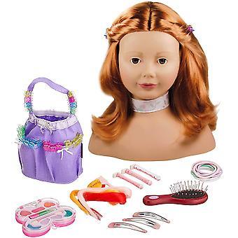 FengChun Gtz 1192054 Haarwerk mit roten Haaren und braunen Augen - 28 cm hoher Frisierkopf- und