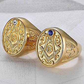 Motif zirconia stones masonic ring
