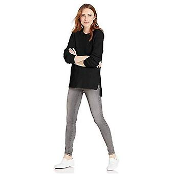 Brand - Goodthreads Women's Cotton Shaker Stitch Crewneck Sweater, Black , XX-Large