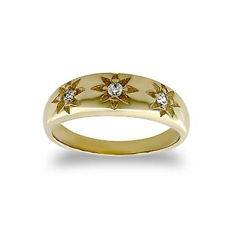 Jewelco London Kids Solid 9ct Yellow Gold White Round Brilliant Cubic Zirconia Gypsy Trilogy Baby Ring