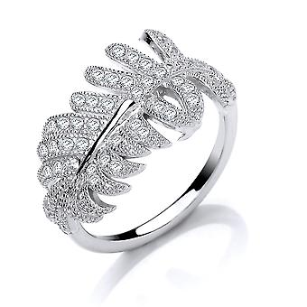 Jewelco London Panie Rhodium Plated Sterling Silver Cubic Cyrkonia Angel Wing Feather Dress Ring