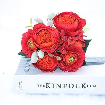 シルクブーケ牡丹、人工花、花嫁結婚式の家の装飾
