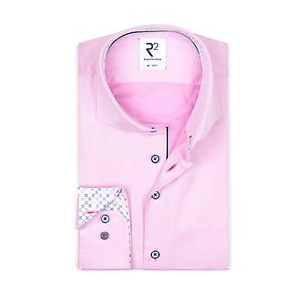 R2 Cut Away Collar Long Sleeved Shirt Pink