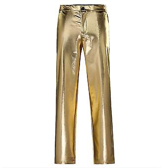 Xxl gold mens casual night club metallic moto style flat front faux leather pants x4917