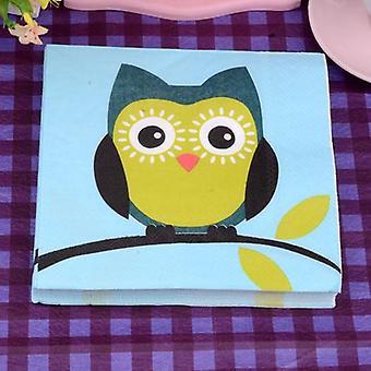 Цветные печатные бумажные полотенца, салфетки с изысканными совами