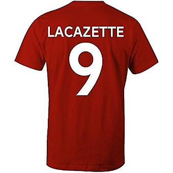 Alexandre lacazette 9 arsenal style player t-shirt red/white, xx-large