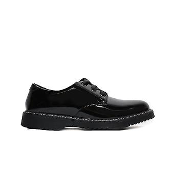 Startrite Impact Svart Patent Läder Girls Spets upp skolan skor