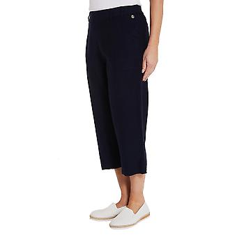 PENNY PLAIN Navy Linen Blend Cropped Trousers