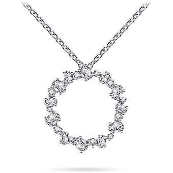 Gisser Joyas - Colgante incl. Collar - Conjunto con piedras de circonio ovaladas y redondas - 36 mm de ancho - Longitud 42 + 5 cm - Gerhodineerd Zilver 925