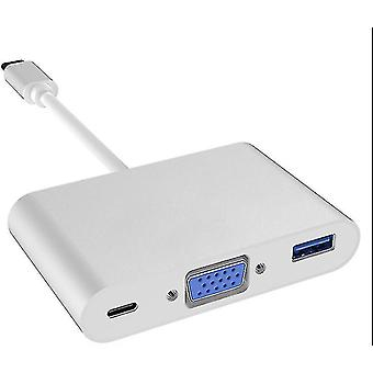 Type-C to VGA+usb3.0+pd expansion converter, type-c three-in-one docking station(Silver)