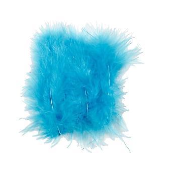 15 lichtblauwe 12cm pluizige veren voor ambachten