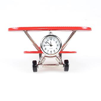 Nektar Plane Table Clock, Decorative Table Clock, Zinc, 11 cm, Desktop Accessories, White Dial, Red