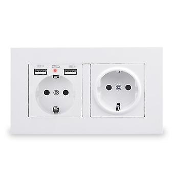 Stopcontacten eu standaard stopcontact met 2 usb laadpoort verborgen zachte led indicator / pc