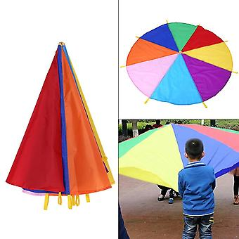 Kid,, Play Rainbow Umbrella Parachute, Outdoor Teamwork Game, Jump-sack, Play