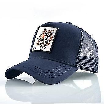 Cotton Embroidered Animal Baseball Cap(Blue Tiger)