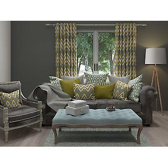McAlister têxteis Navajo azul + verde limão cortinas