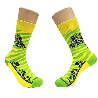 Green and Yellow Zebra Safari Socks from the Sock Panda (Adult Small)