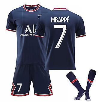 Mbappe #7 Jersey Home 2021-2022 New Season Paris Soccer T-Shirts Jersey Set för barnungdomar