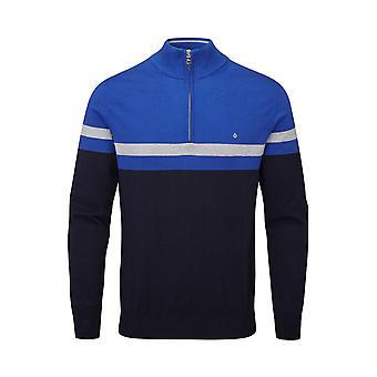 Oscar Jacobson Mens Pin Cotton Zip Neck Sweater Long Sleeve Jumper Pullover Top