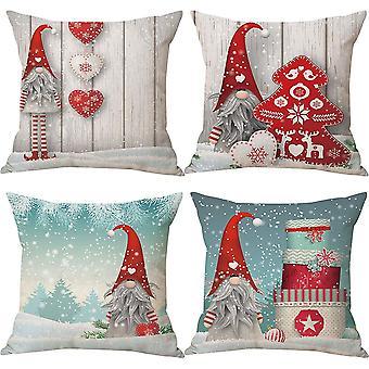 Noël 45 x 45 cm Ensemble de 4, Christmas Gnome lancer housses d'oreiller 18 x 18 pouces