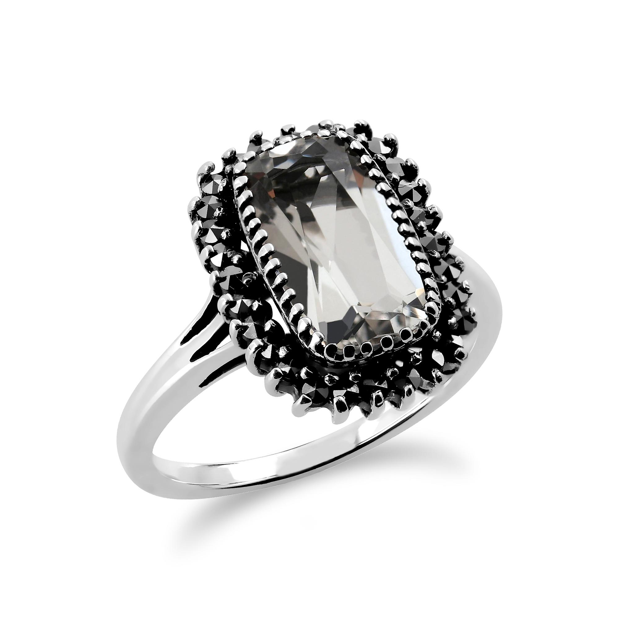 Sterling Silver 2.00ct Rock Crystal & Marcasite Cluster Ring