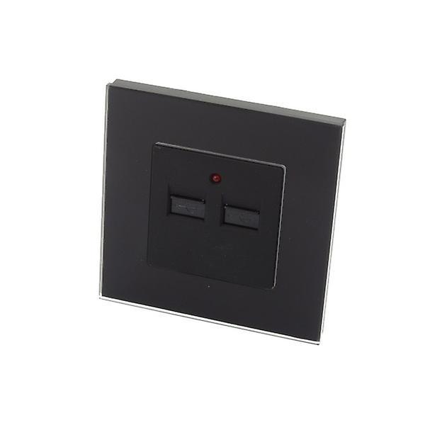 I LumoS Luxury Black Glass Double 2.1A USB Single Socket Wall Charger