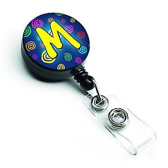 Bogstavet M indledende Monogram - blå hvirvler løftbare Badge hjuls