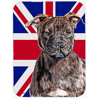 Staffordshire Bull Terrier Staffie with English Union Jack British Flag Glass Cu