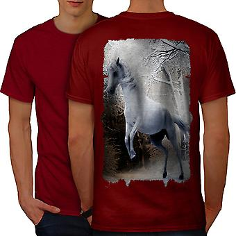 Horse Forest Wild Animal Men RedT-shirt Back | Wellcoda