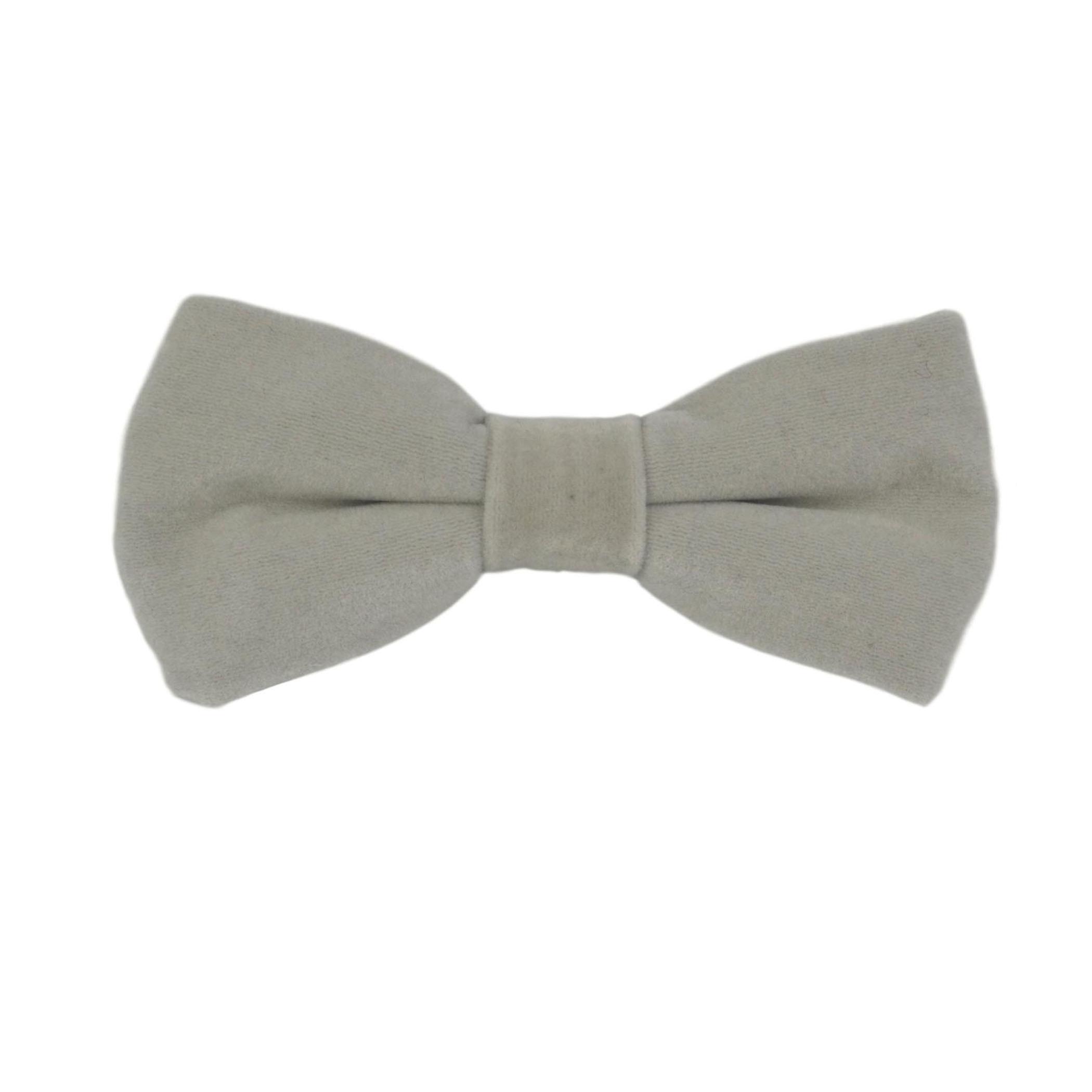 Luxury Silver Oyster Grey Velvet Bow Tie & Pocket Square Set
