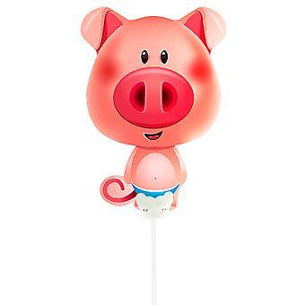 Folienballon mit Stab Schwein Ferkel Schweinchen Pig