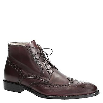 Handmade italian dress boots for men in brown leather